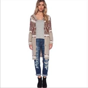Free People Frosted Fair Isle Long Sweater Size S